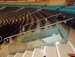 """Track Rail with stainless steel handrail with bottom 9"""" of glass was sandblasted"""