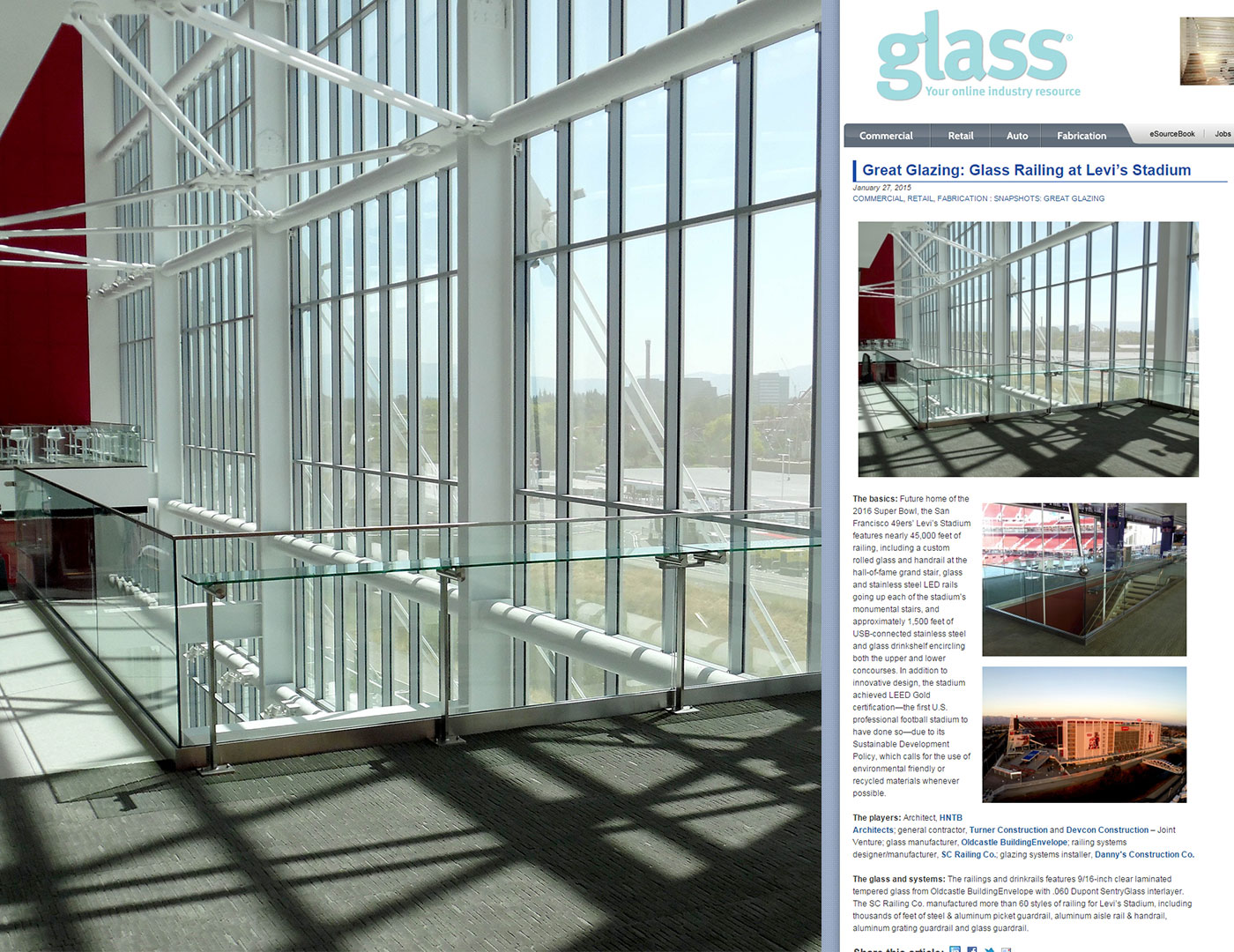 Great Glazing: Glass Railing at Levi's Stadium
