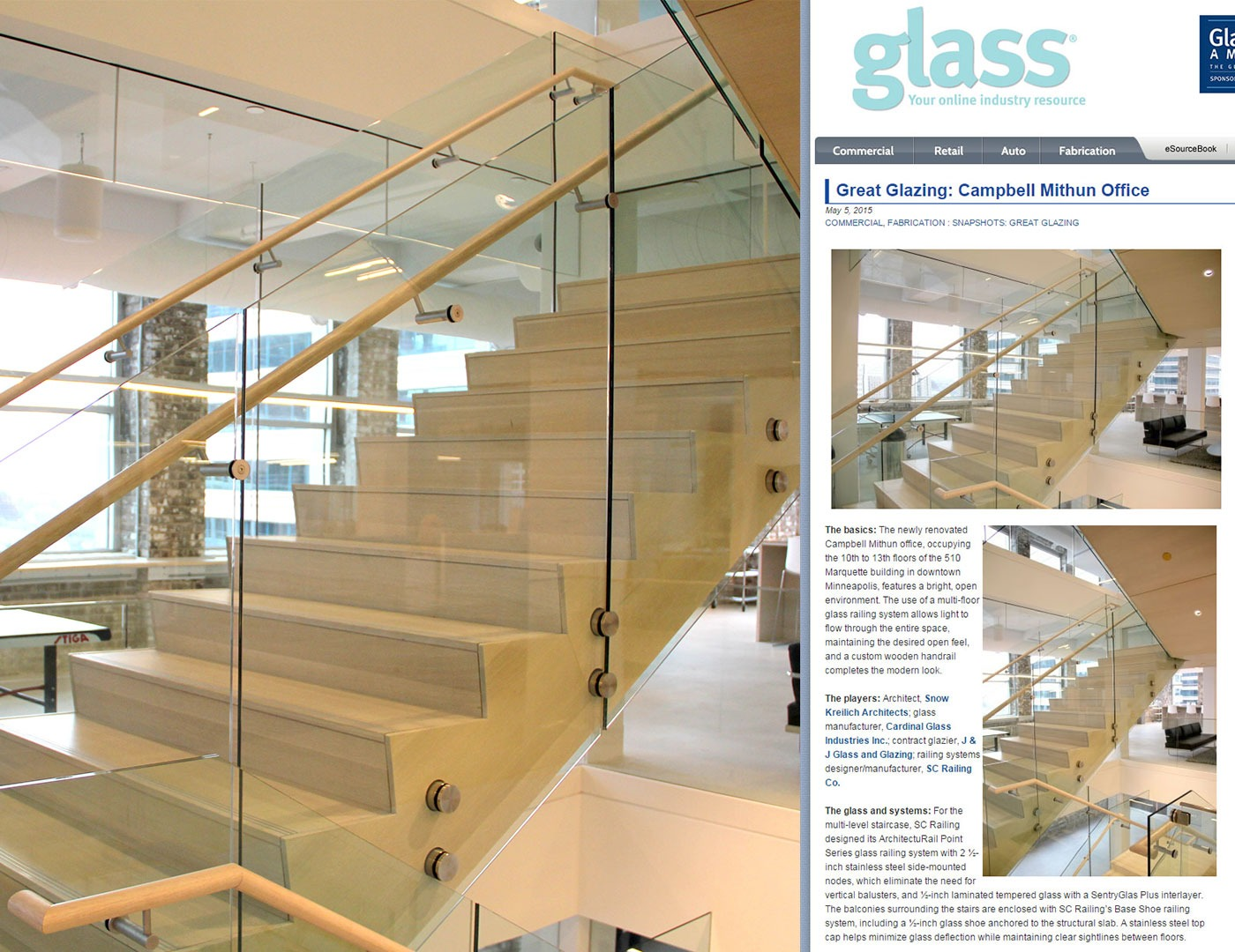 Great Glazing (e-glass weekly) features ArchitectuRAIL at Campbell Mithun