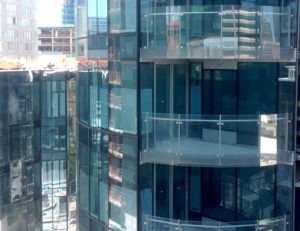 Side mounted glass railing used on all exterior balconies
