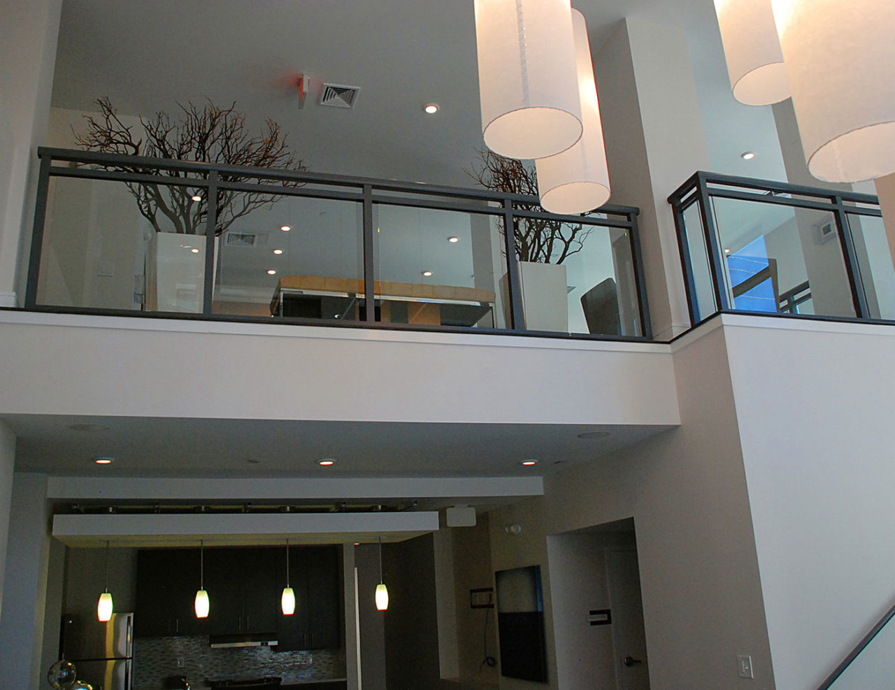 3-Line Glass interior lobby railing