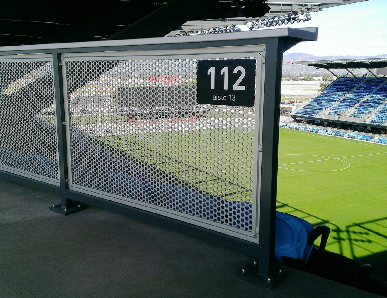 MLS Stadium Gridguard perforated metal railing