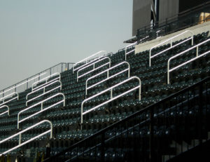 Anodized aluminum aisle railing at Citi Field