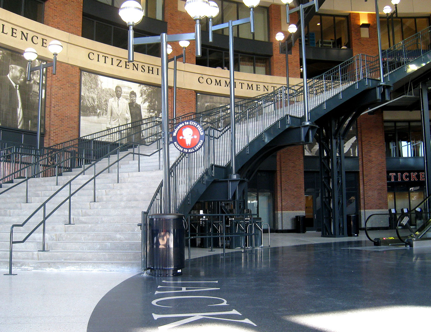 Classic picket railing on MLB grand stair