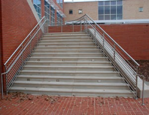 Post mounted stainless steel handrail