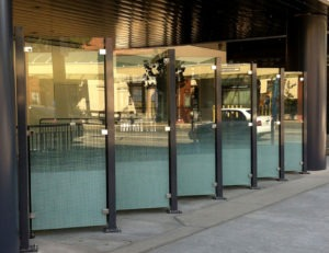 Aluminum post dividers with fritted glass infill