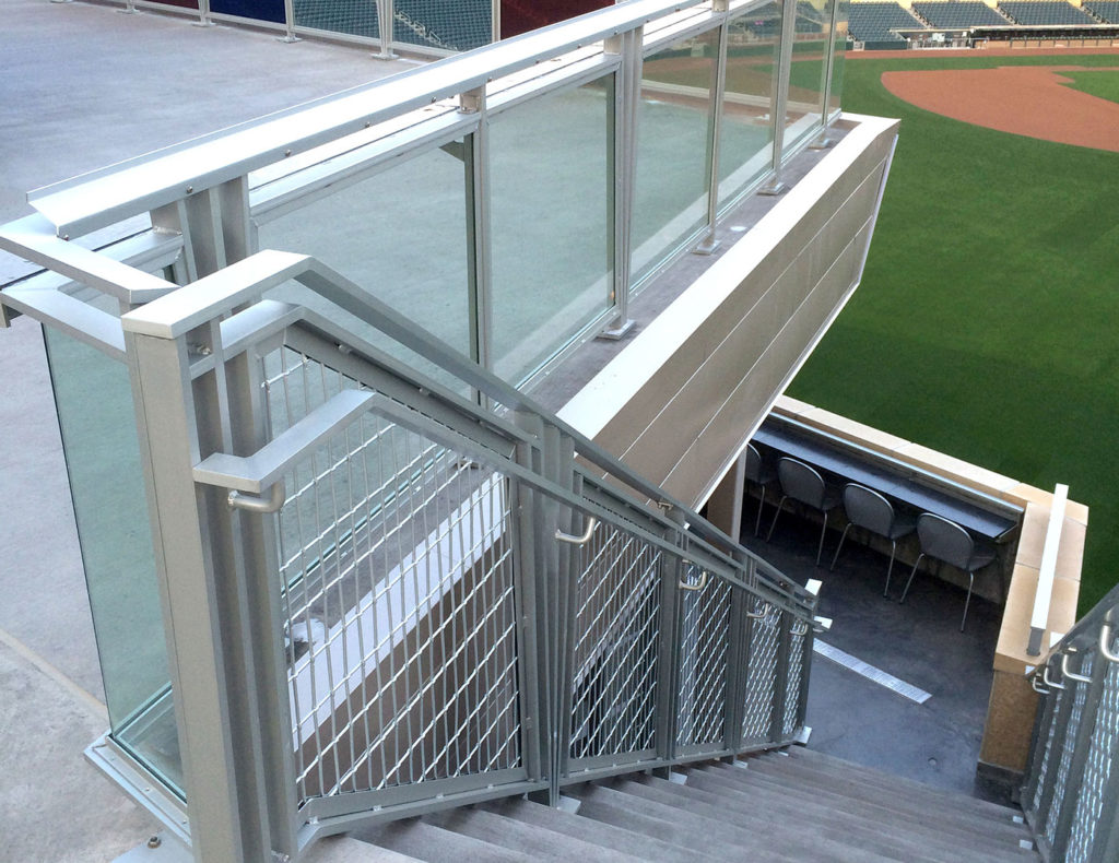 "Glass railing with 1/2"" Optiview clear glass infill"