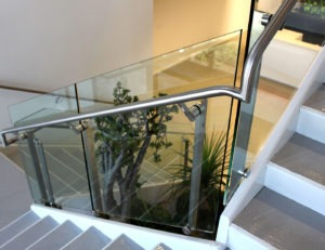 Corporate lobby with Dot stair glass railing
