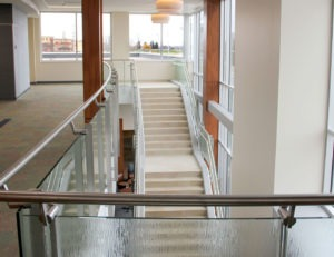 Stainless steel railing with glass infill