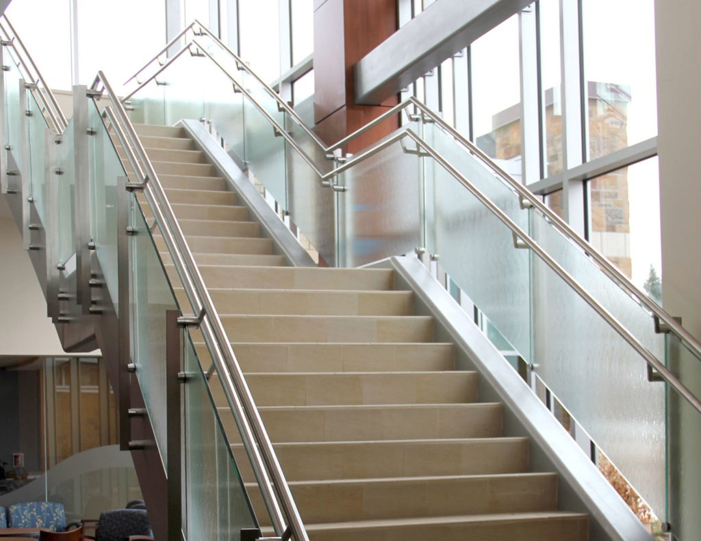 Lobby stairs and overlook glass railing