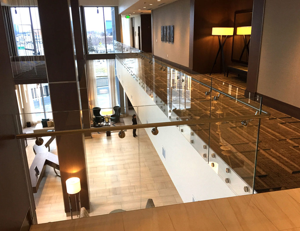 Point Series glass railing system in JW Marriott lobby
