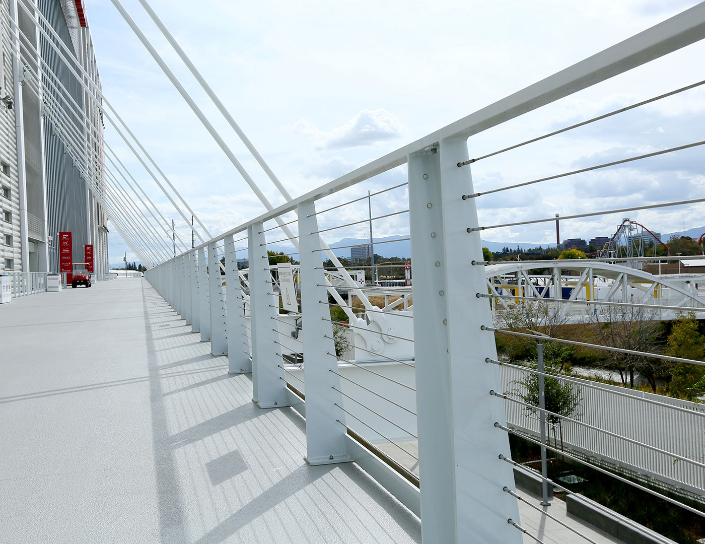 Tensiline cable railing system with custom painted aluminum frame
