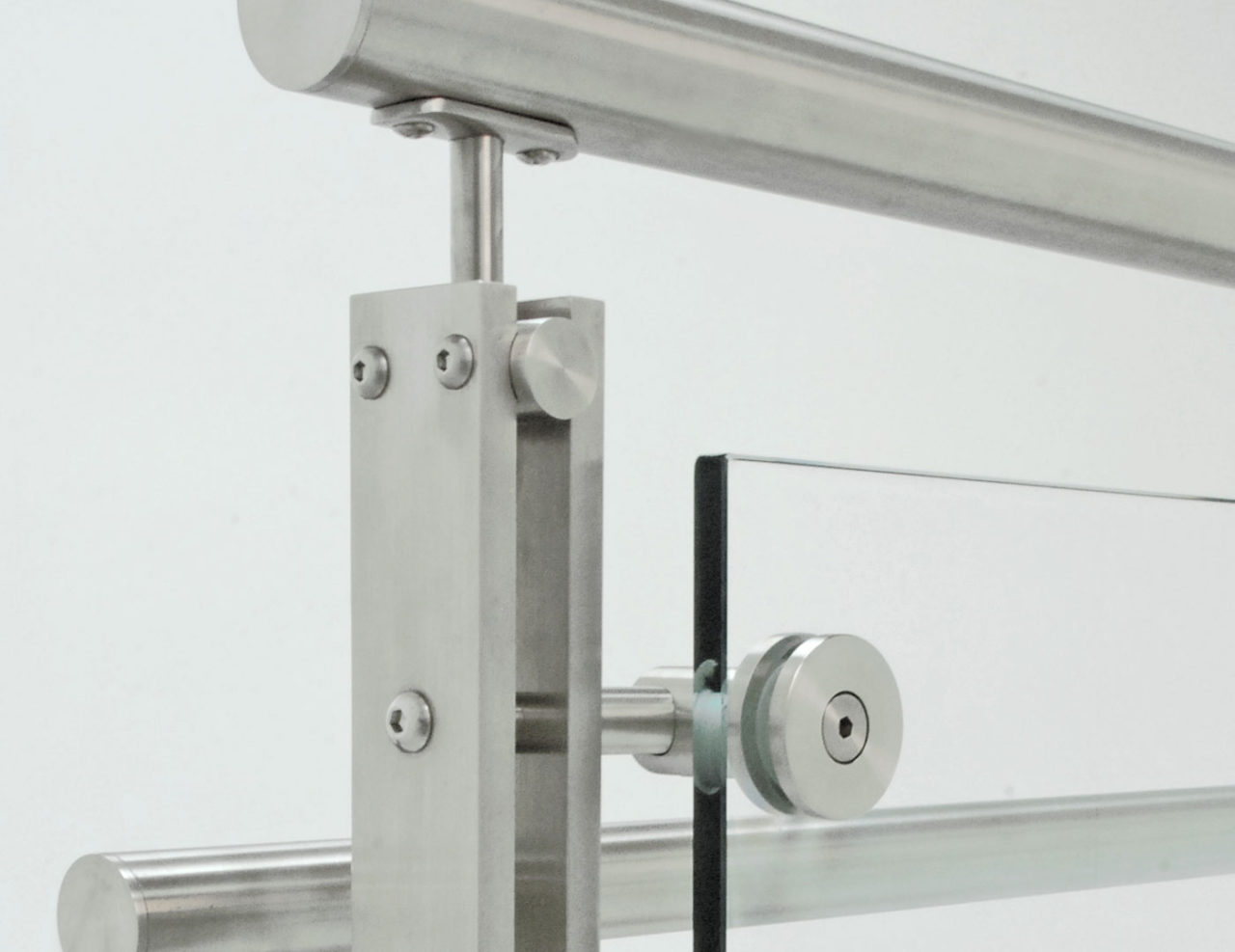 Stainless steel solid double-bar post glass railing