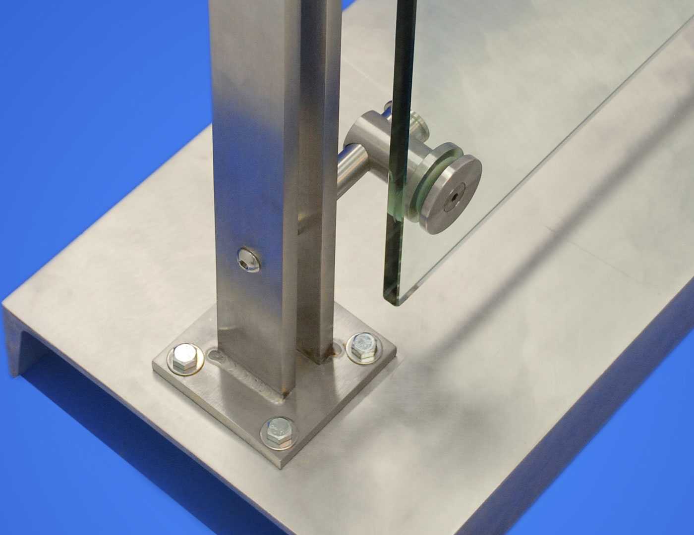 Top mounted double bar post glass railing