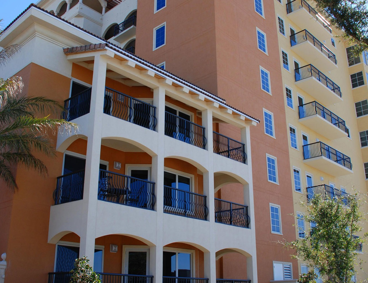 2-Line Picket Balcony Railing Often used in high-rise condominium and resort projects