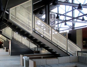 Gridguard mesh railing on stairs