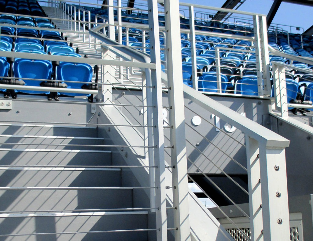 Entrances to the fan seating areas at Avaya Stadium feature Tensiline