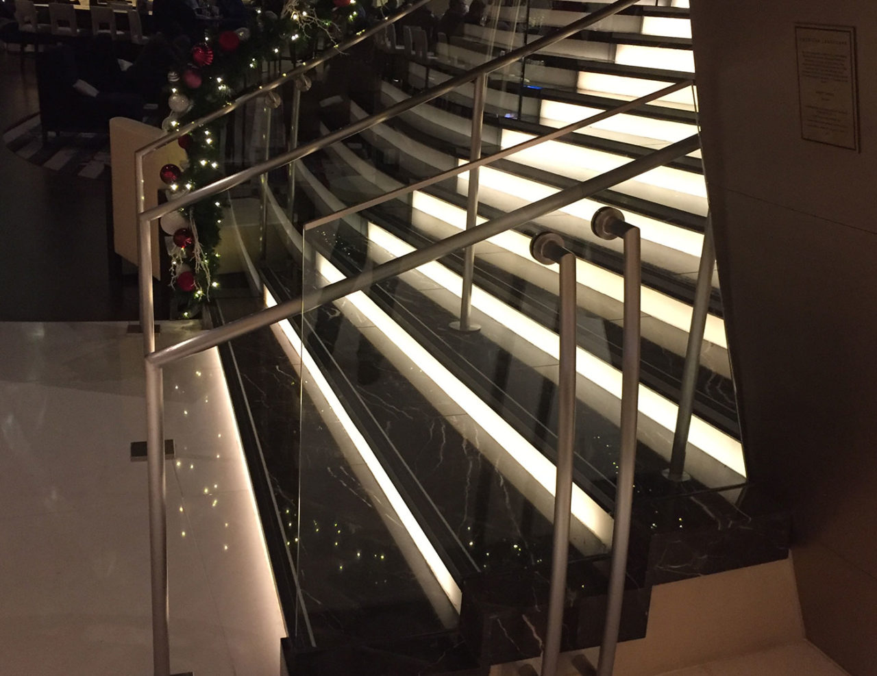 Track Rail with custom post supports at Marriott Marquis