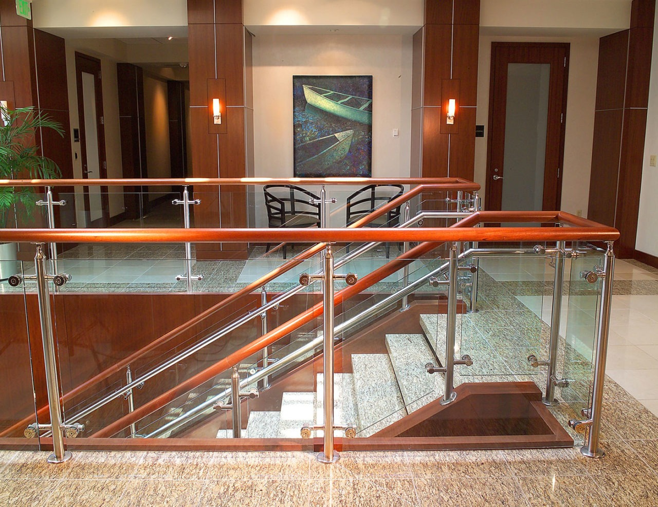 Law firm uses Southpark Stainless Railing with cherry wood top cap