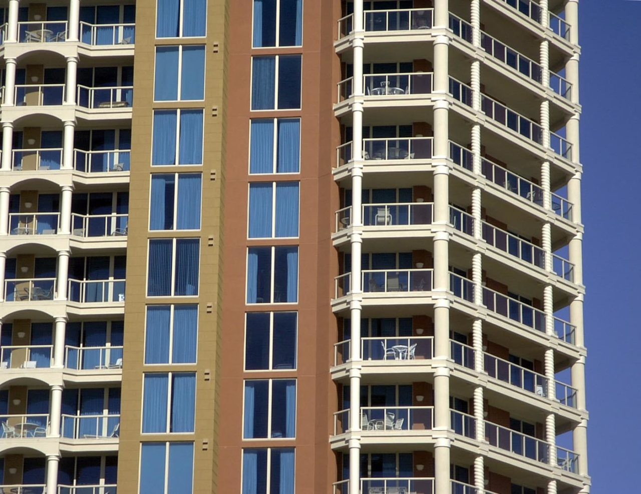 2-Line Glass Balcony Railing Often used in high-rise condominium and resort projects