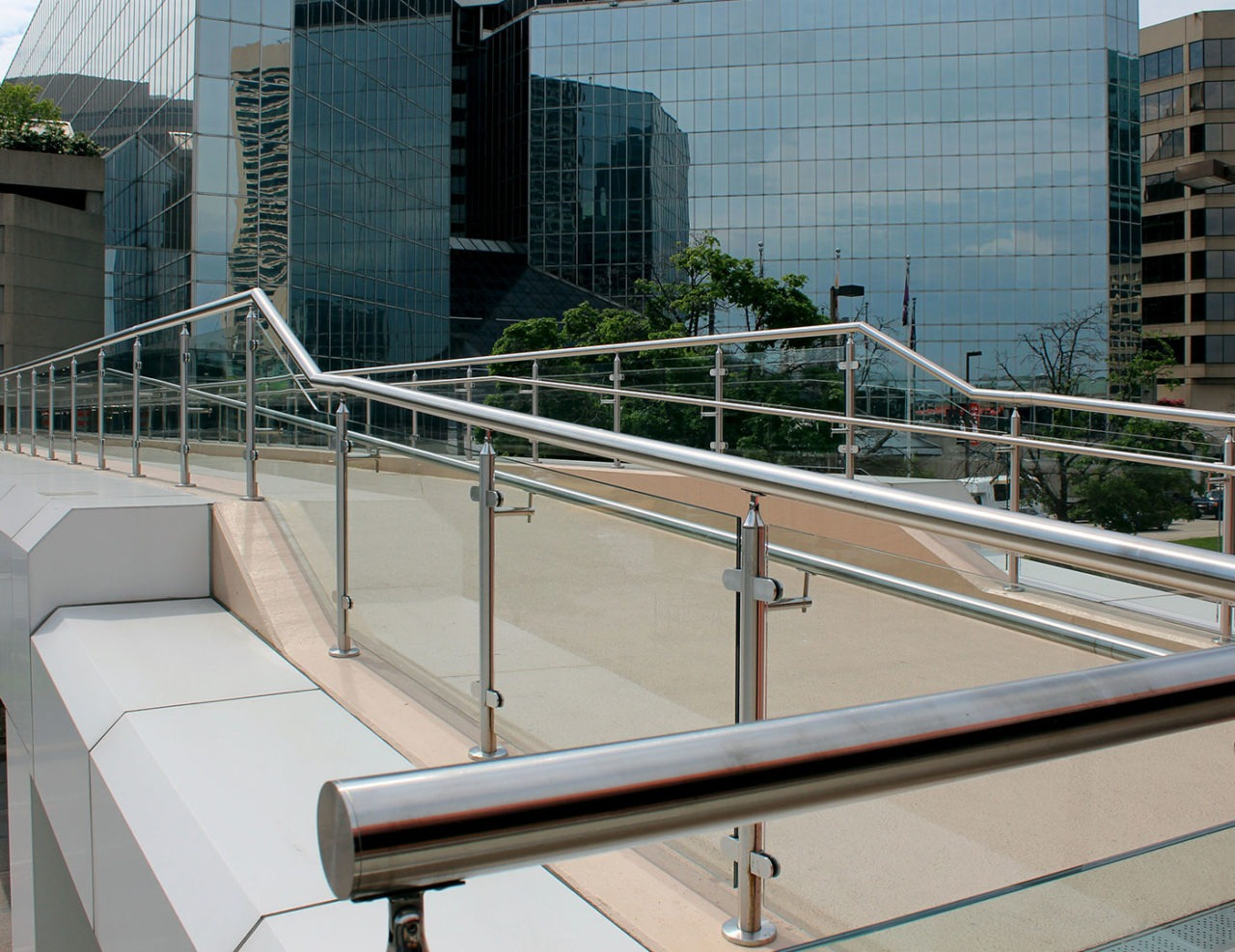 Monaco Post Supported Glass Railing Trex Commercial Products