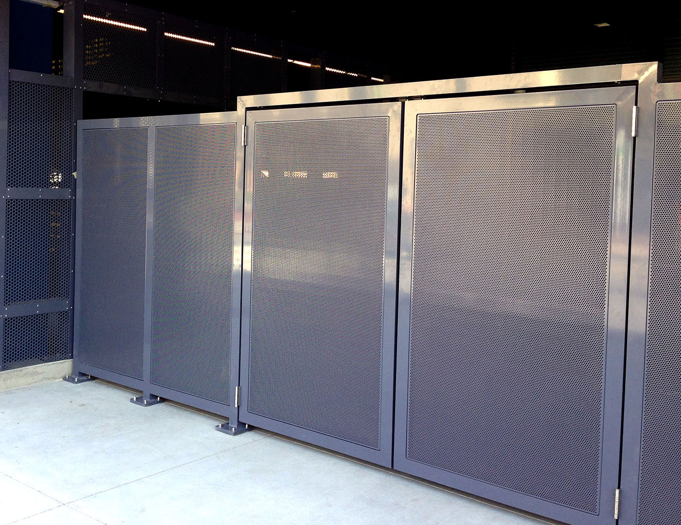 Custom aluminum perforated panels used for exterior gates