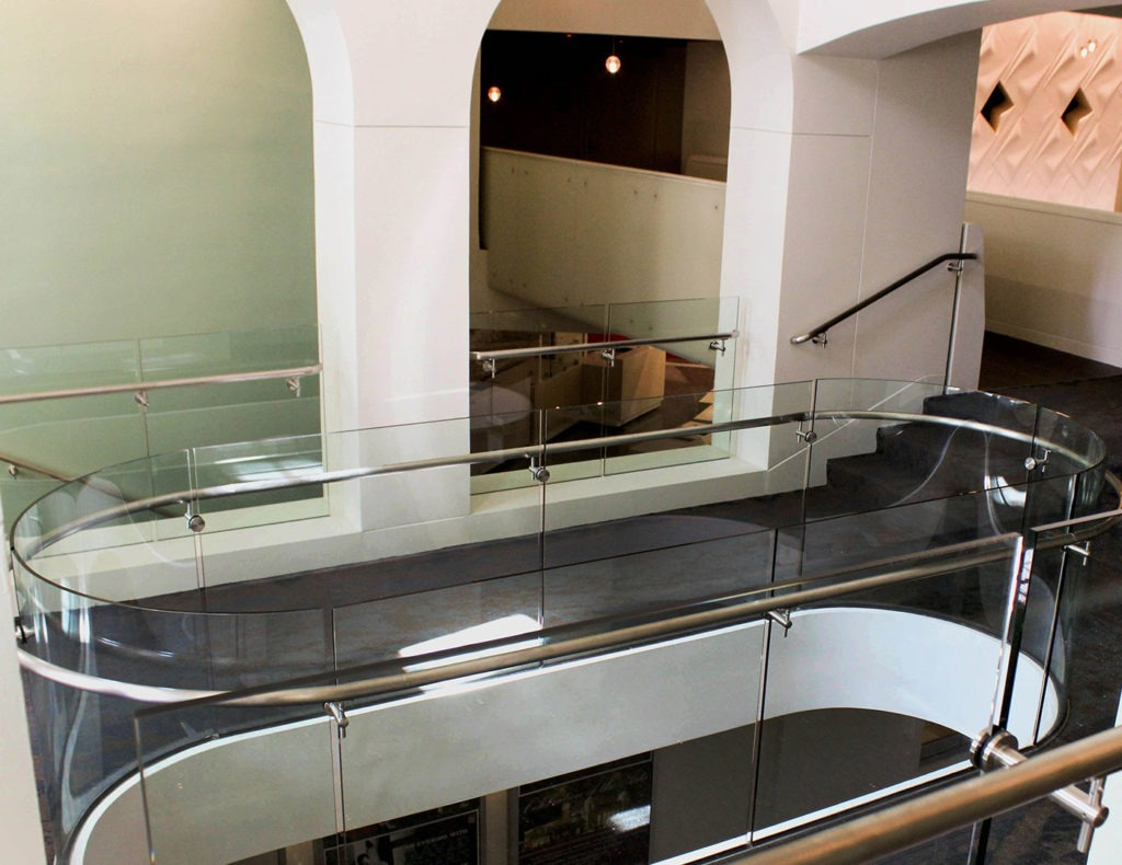 Rolled glass railing surrounding rotunda