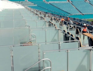 Post Rail used in luxury seating area as suite diviers