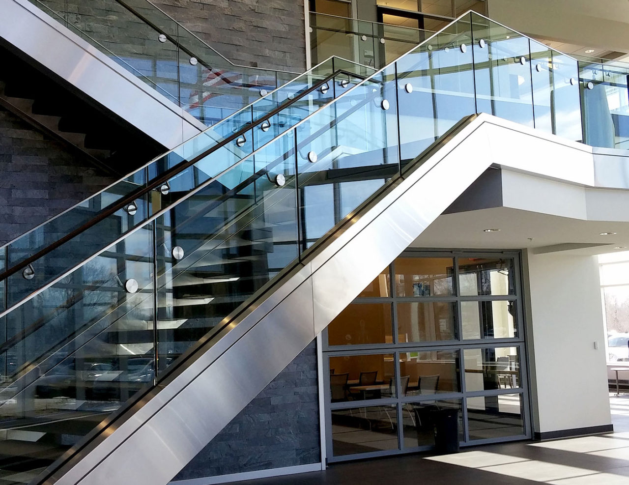 Glass Stair Railing With Wood Handrail