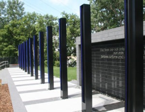 Custom list steel I-beam columns for 35W Memorial