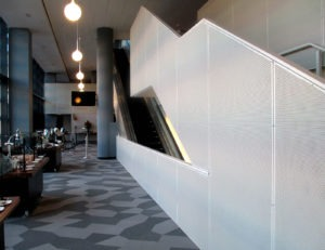 Interior perforated panels at Barclays Center