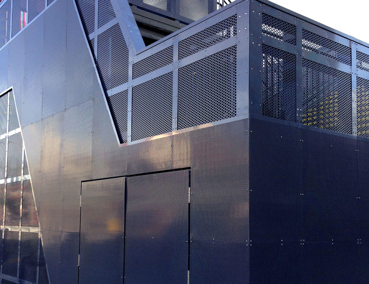 Exterior aluminum perforated panels