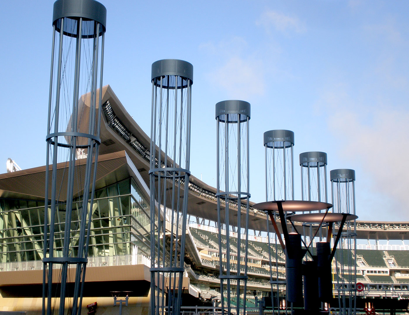 Custom metal topiaries at Target Field