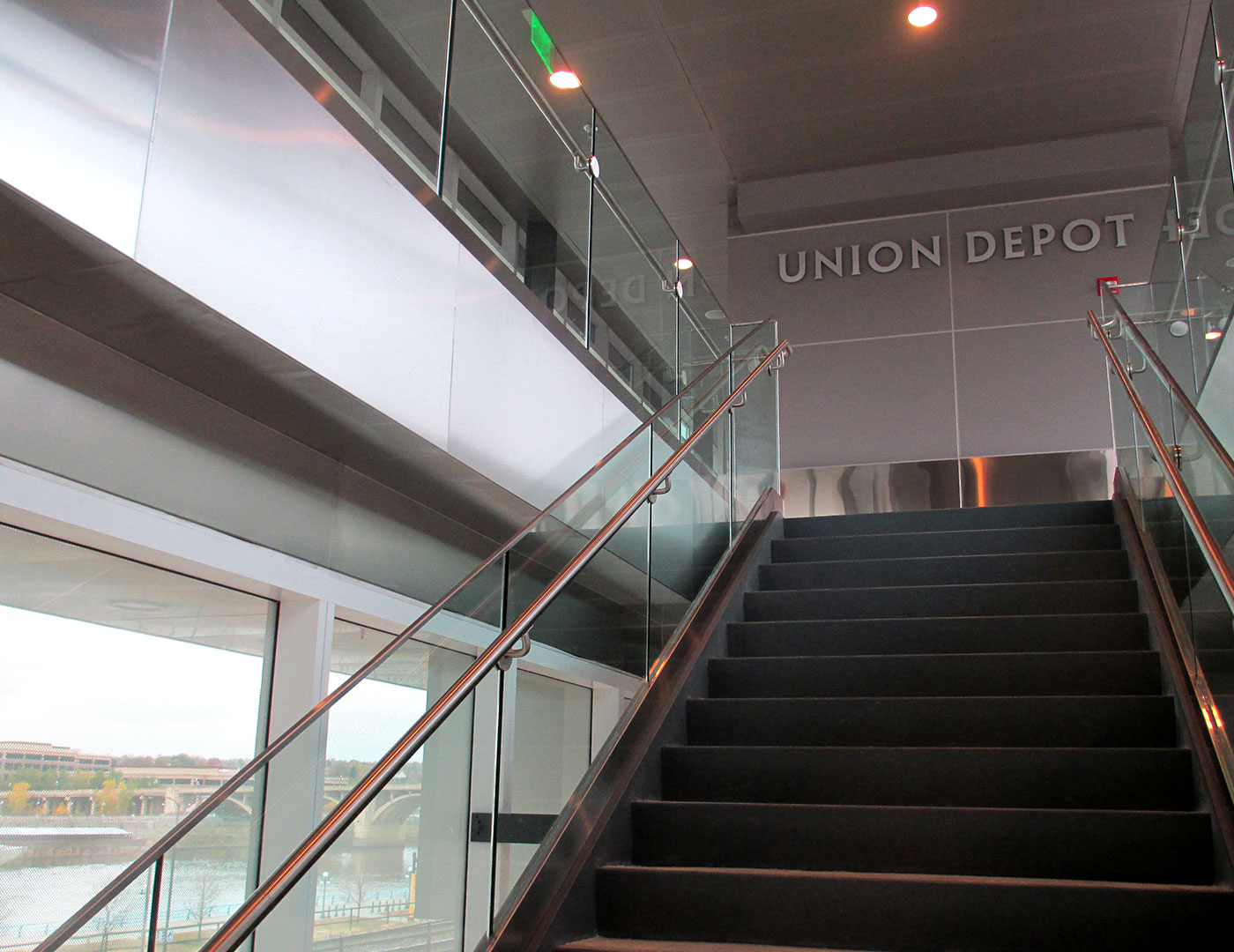 Transportation glass railing on stairs and balcony