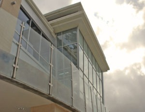 Exterior balcony glass railing