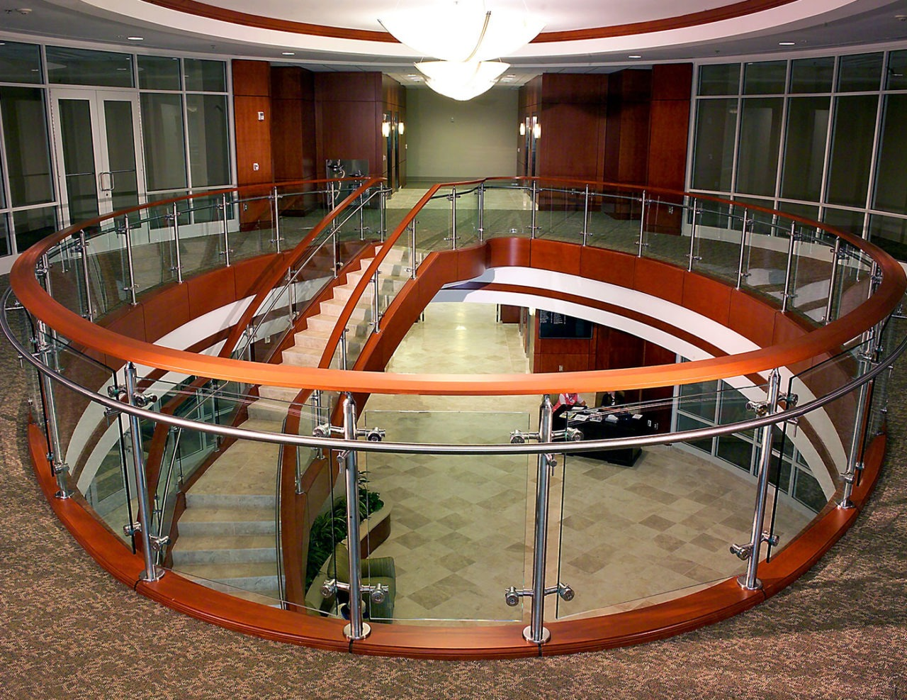 Glass Railing With Disc And Rod Glass Mounts Trex Commercial Products