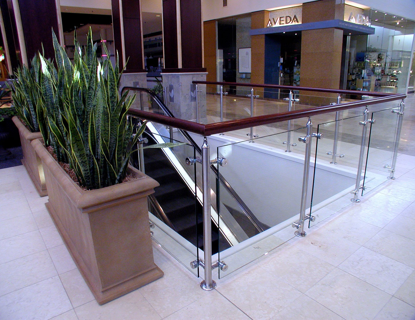 Retail mall uses Southpark railing with wood top cap
