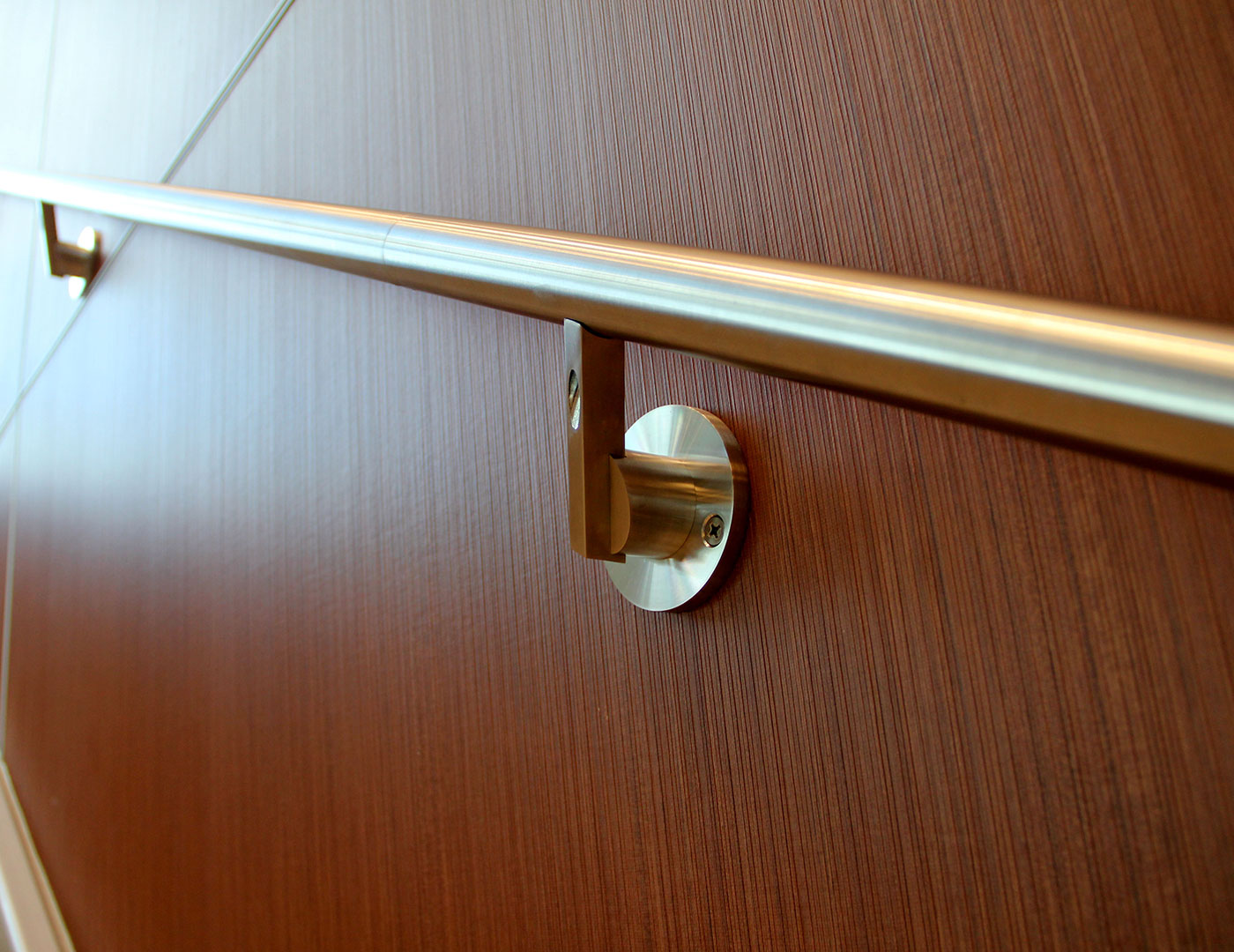 Wall mounted stainless steel handrail and components