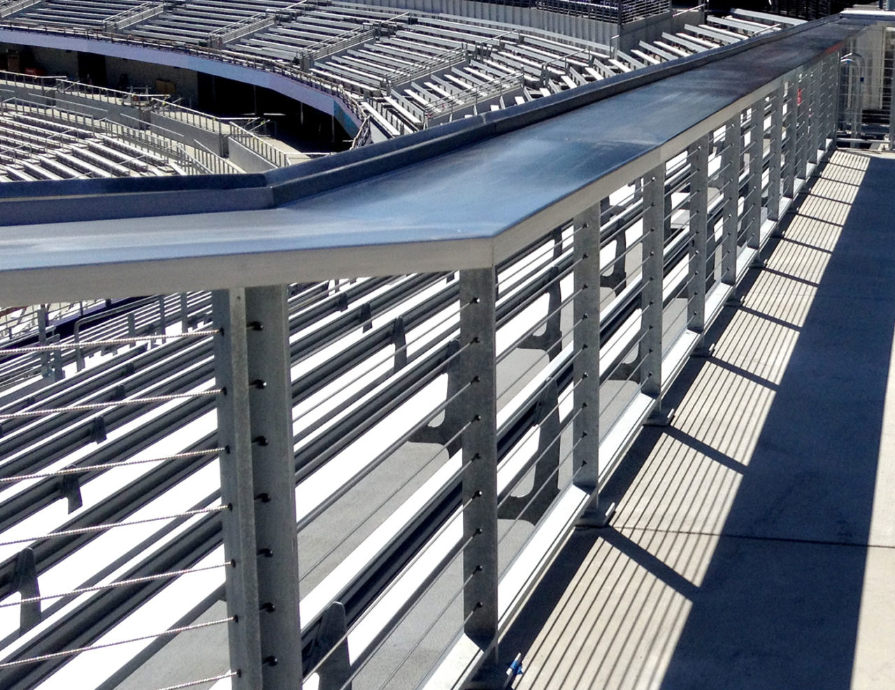 College football stadium with steel railing