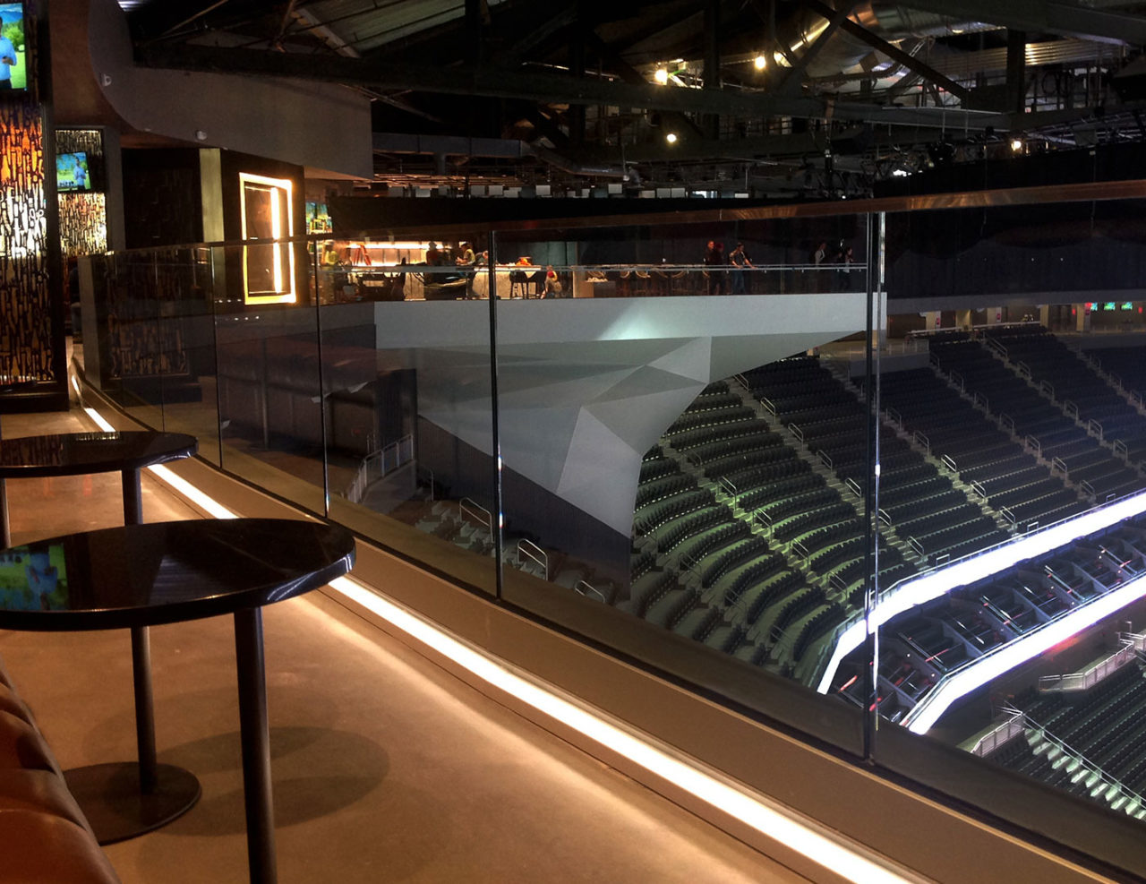Custom C-channel LED lit glass base shoe railing system