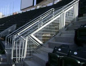 Gridguard aluminum intercrimp mesh railing with a u-edge border
