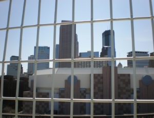 Intercripmped wire mesh railing infill at Target Field