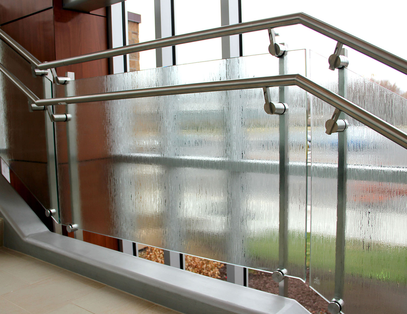 Custom dual stainless steel handrails