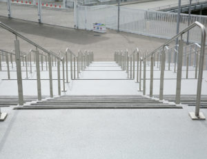 Exterior post supported LED handrail