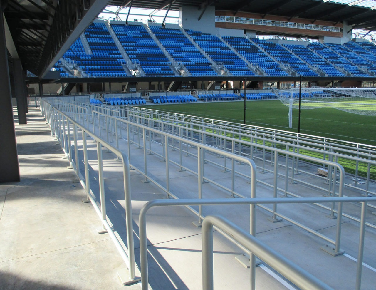 Top mounted aluminum tube railing at Avaya Stadium