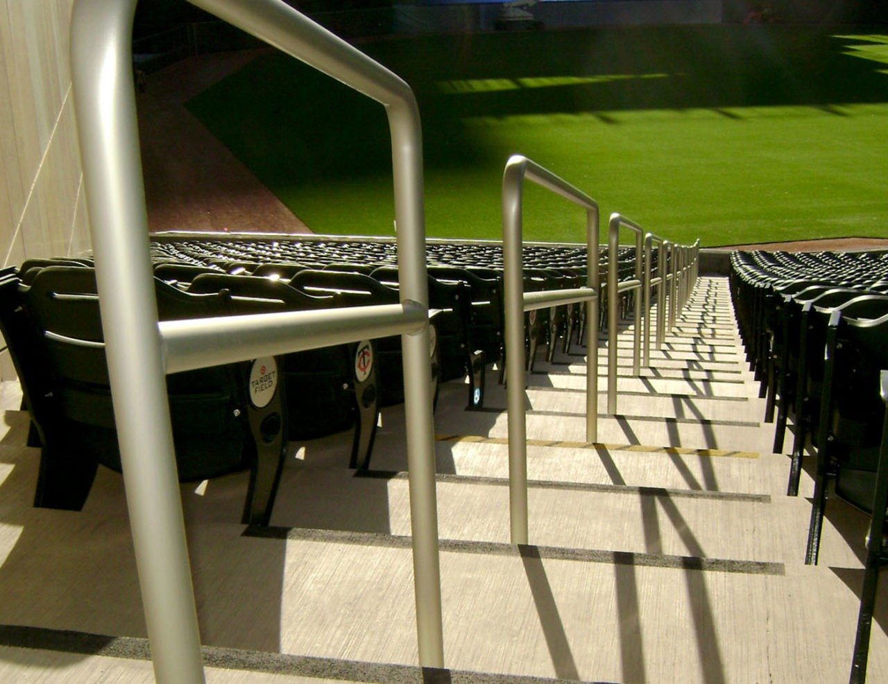 Ballpark showcases aluminum Griprail aisle railing