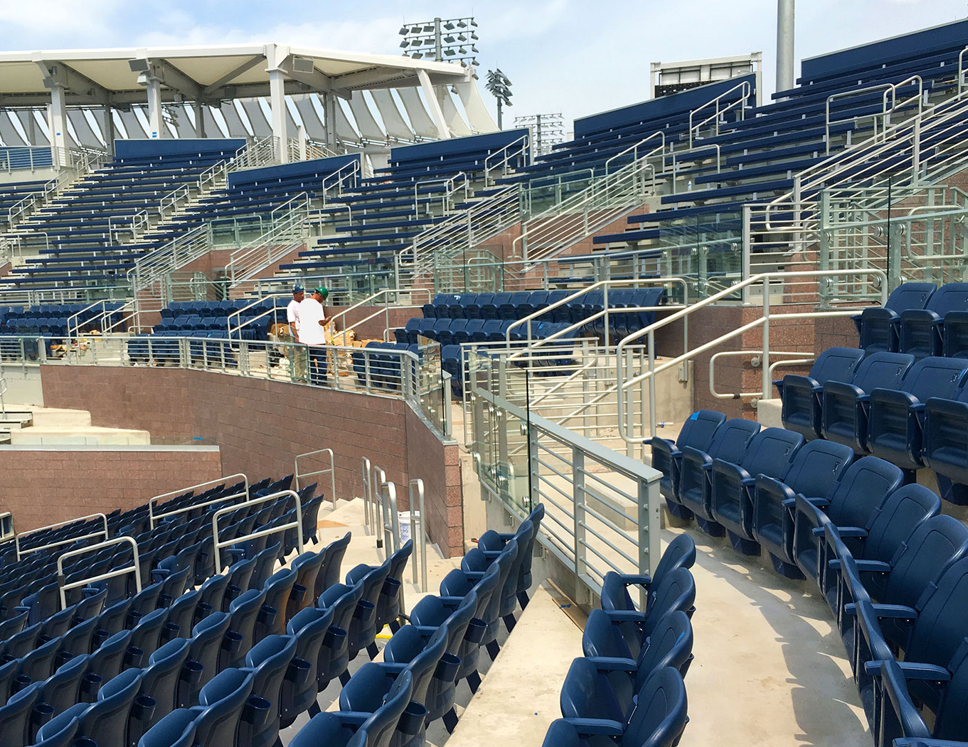 USTA Grandstand Renovation with horizontal picket railing