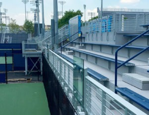 Horizontal picket railing at USTA South Campus Tournament Courts