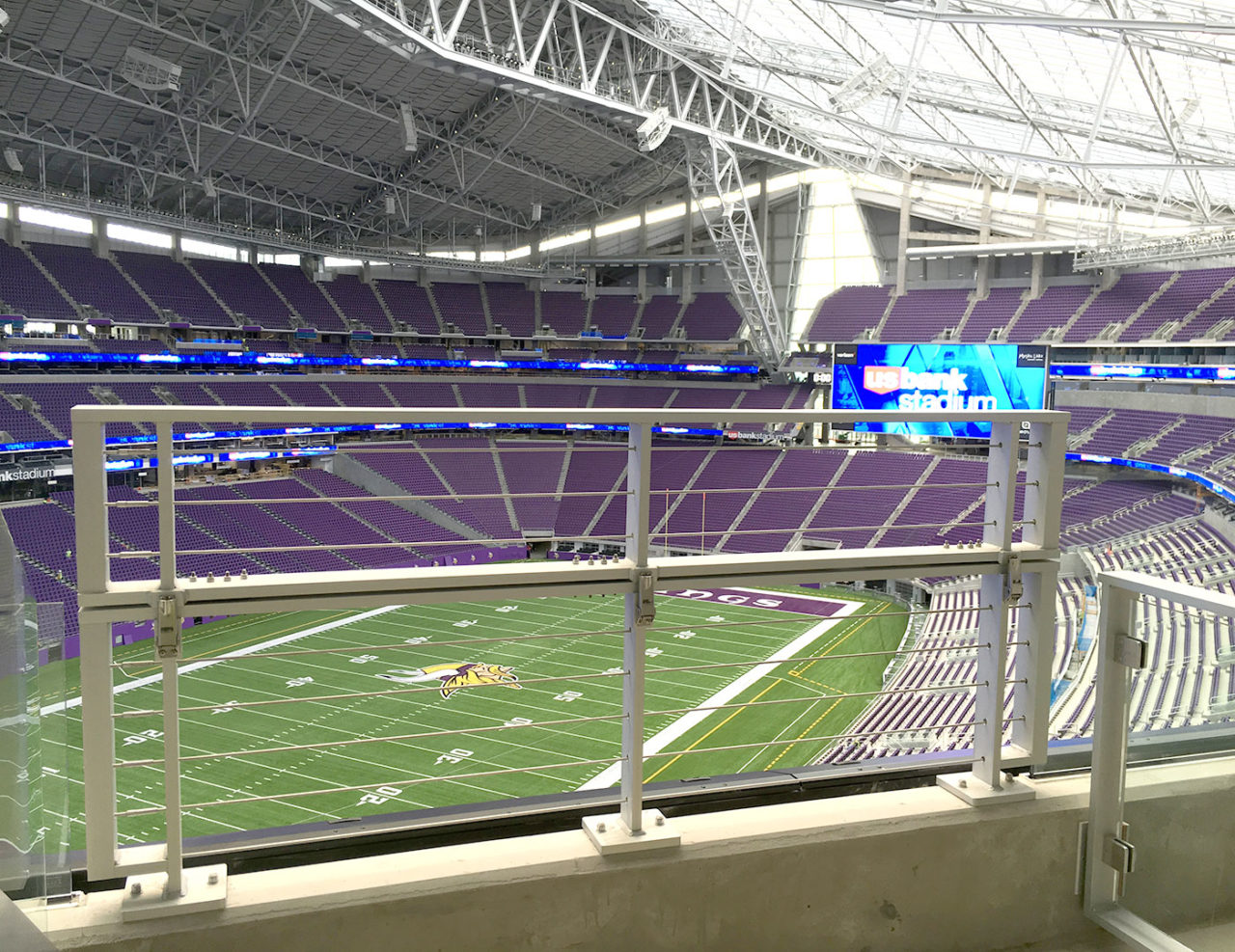Drop down camera bay railing at U. S. Bank Stadium