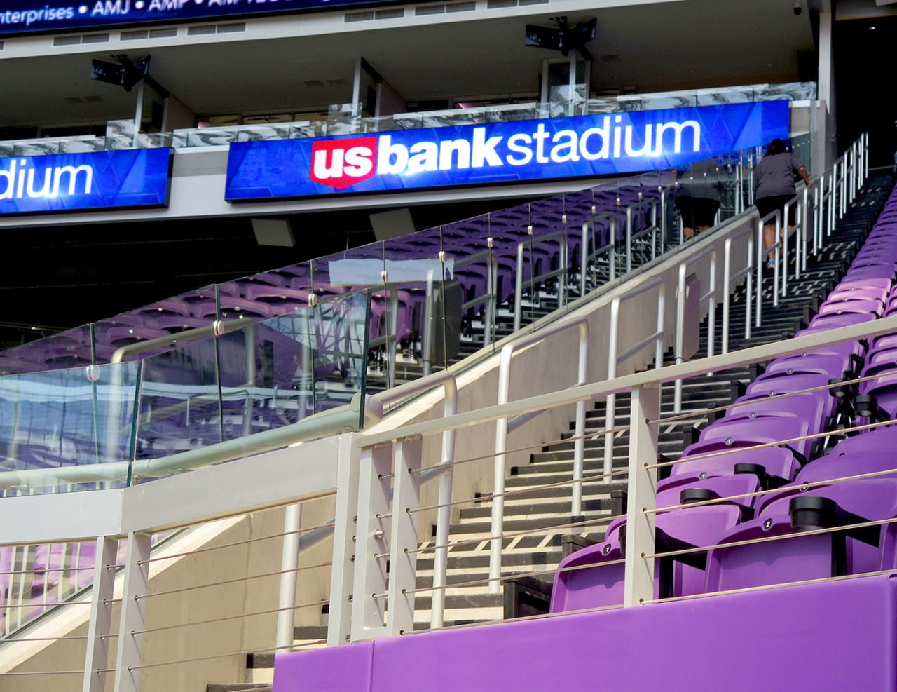 Custom cable railing at U. S. Bank Stadium
